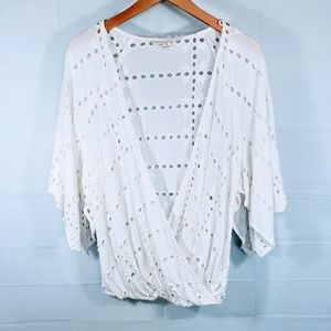 LOVESTITCH WHITE EMBROIDERED EYELET TOP